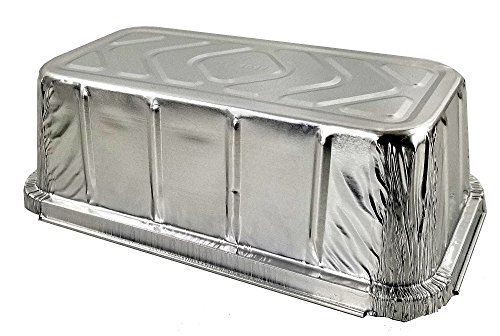 Pactogo 1 1/2 lb. IVC Disposable Aluminum Foil Loaf Bread Pan w/Board Lid (8'' x 4.1'' x 2.2'') - Heavy Duty Made in USA (Pack of 50 Sets) by PACTOGO (Image #3)'