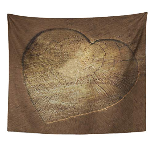 Semtomn Tapestry Artwork Wall Hanging Wood Rustic Carved Heart Oak Tree Log Woodgrain 50x60 Inches Home Decor Tapestries Mattress Tablecloth Curtain - Blanket Carved Oak