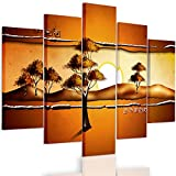 Feeby. Multipart Canvas - 5 panels - Wall Art Picture, Image Printed on Canvas, 5 parts, Type A, 200x100 cm, ABSTRACTION, SAVANNA, AFRICA, SUNRISE, TREES, YELLOW, ORANGE