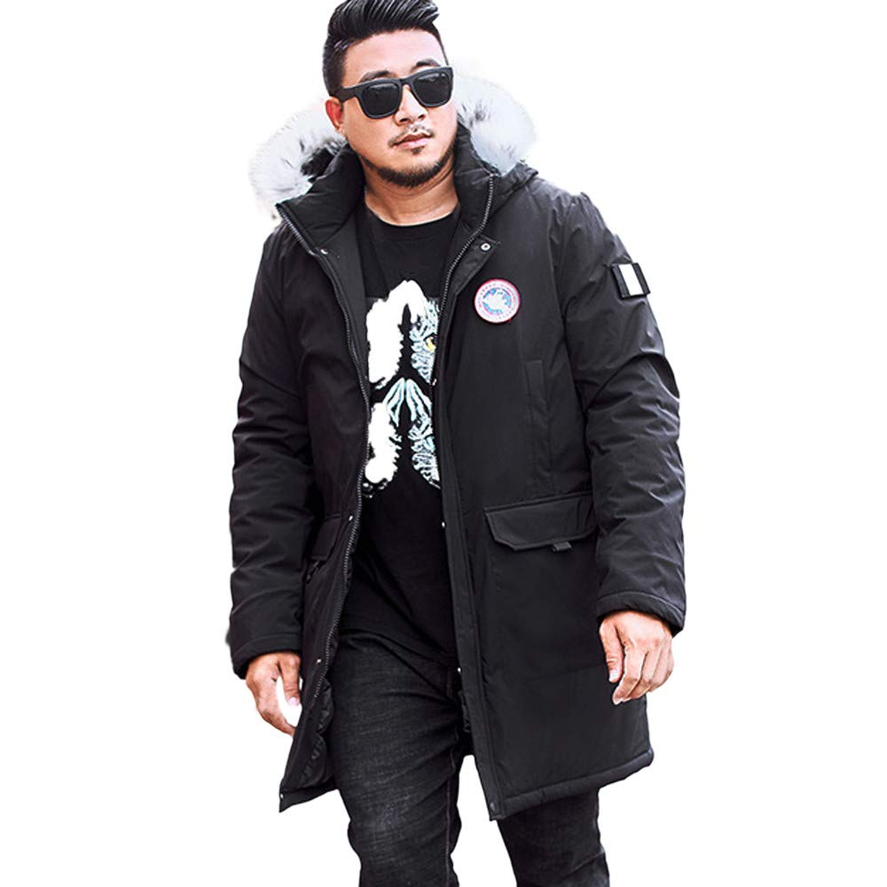 Mens Winter Coats Big and Tall.Men's Winter Medium Length Zipper Plus Size Hooded Pocket Thickened Cotton Coat Black