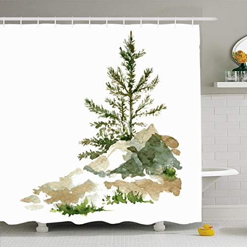 Ahawoso Shower Curtain 72x72 Inches Drawing Forest Young Pine Trees Rocks by Watercolor Nature Cedar Sketch Redwood Shrub Design Hand Waterproof Polyester Fabric Set with Hooks]()