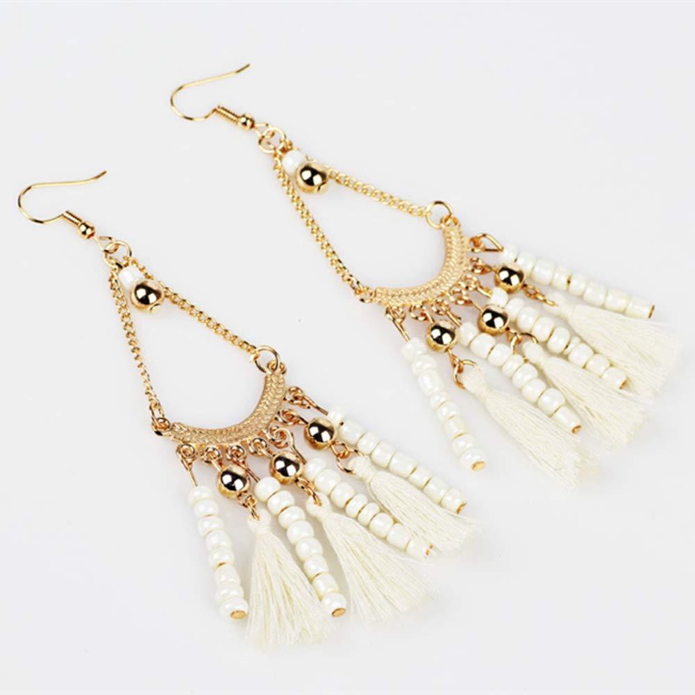 Beaded Tassel Thread Tassel Earrings Bohemia Ethnic Dangle Drop Earrings Fringe Statement Earrings