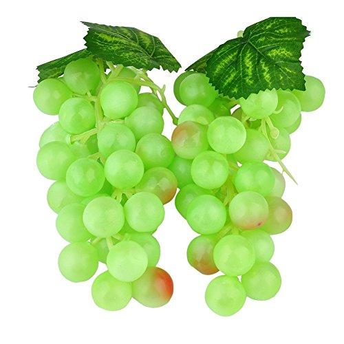 Natural Home Deko Weintrauben 17 cm Rispe Wein Trauben Kunstobst Kunstgemüse künstliches Obst Gemüse Dekoration (Gruen)