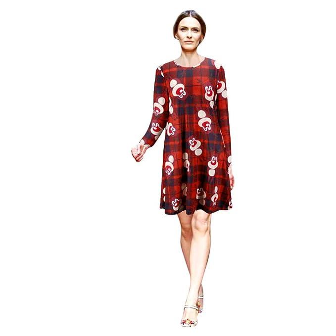 Ulanda-EU Vestiti Donna Natale Elegante Donna Velluto Vintage Manica Lunga  Natalizio Stampa di Alce f31e8cd50cb