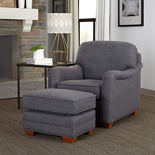 Magean Grey Stationary Chair and Ottoman