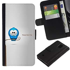 Planetar® Modelo colorido cuero carpeta tirón caso cubierta piel Holster Funda protección Para Samsung Galaxy S5 Mini (Not S5) (Not S5), SM-G800 ( Cry Tears dulce Cita del amor de la historieta Caring )
