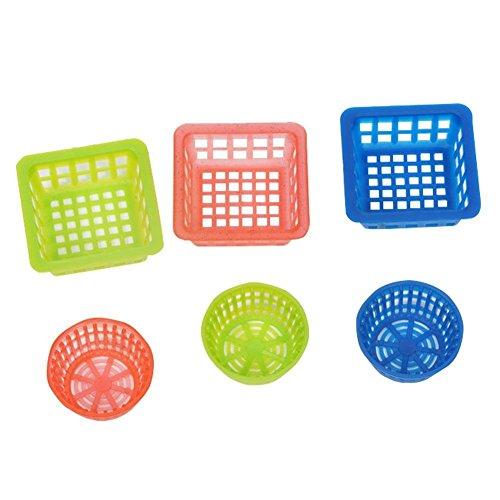 Zeroyoyo 6pcs Dollhouse Miniature 1:12 Scale Mini Square Round Laundry Picnic Baskets Wicker Bread Vegetable Fruit Crisp Storage