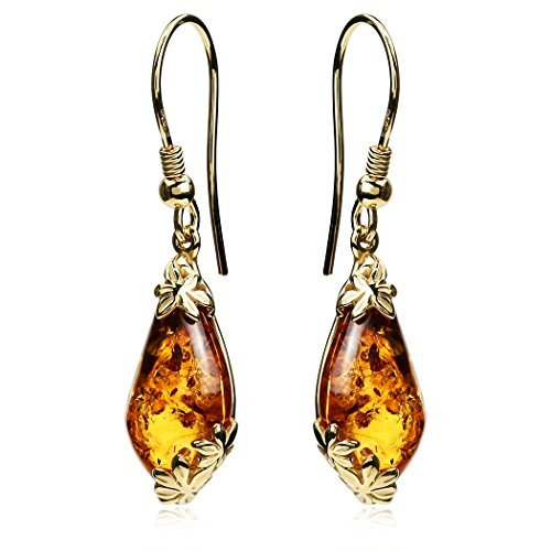 Amber Gold Plated Ring - Amber Gold Plated Sterling Silver Fishhook Earrings
