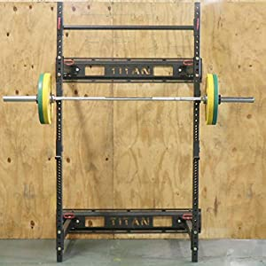 "Titan Fitness T-3 Series Fold Back Power Rack 41"" Deep Wall Mounted Laser Cut"