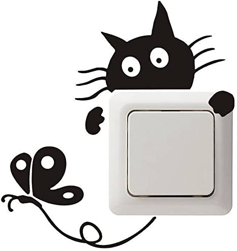 2x Vinilo decorativo pegatina pared cristal gato caza mariposa puerta