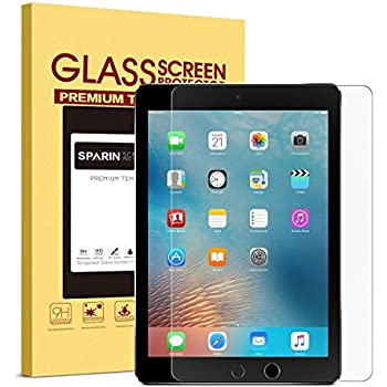 """iPad 9.7"""" (2017) / iPad Pro 9.7 / iPad Air 2 / iPad Air Screen Protector, SPARIN Tempered Glass Screen Protector - Apple Pencil Compatible / 2.5D Round Edge / Scratch Resistant"""