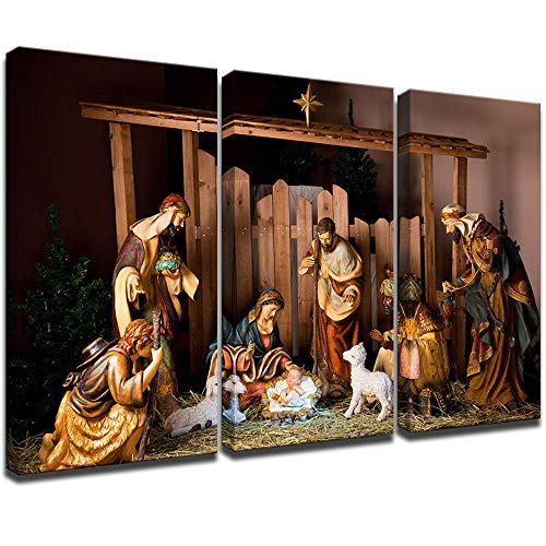 "KLVOS Christmas Nativity Set Home Decor Gift 3 Piece Canvas Prints Wall Art Jesus was Born in Manger Religion Picture Artwork Framed and Stretched for Living Room (16""x32""x3pcs, Christmas Nativity)"