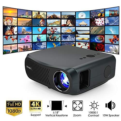 WIKISH Native 1080p Projector 7000 Lumen Led Outdoor Movie Projector Full HD 200 Inch Display for Home Theater Dvd Tv…