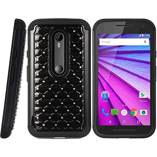 (Motorola Moto G 2015 Case, [Black Bling] Supreme Protection Rubberized Matte Hard Plastic Dual Layer Hybrid Case for Motorola Mote G 3rd Generation)