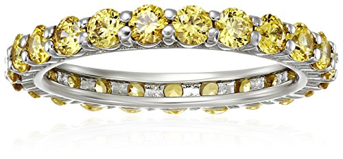 Golden Ring Swarovski (Platinum-Plated Sterling Silver Golden Yellow All-Around Band Ring made with Swarovski Zirconia, Size 9)