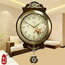 Mute European Clocks Antique Wall Clock Living Room Fashion Brass Clock Large Wall Charts Modern Quartz Watches,20 Inch,8859 Copper Bell Café