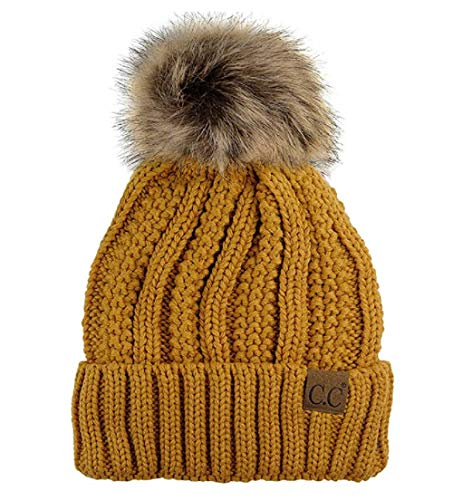 ccd9de38 BYSUMMER C.C Cable Knit Beanie with Faux Fur Pom - Warm, Soft, Thick Beanie  Hats for Women & Men (Mustard)