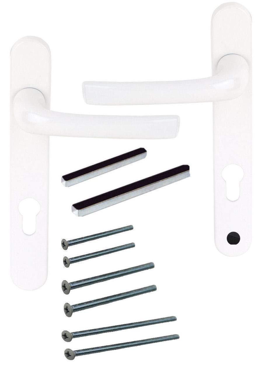 UPVC Kit de poignée de porte à levier Blanc 92pz 122mm Vis à vis–Poignée de porte de grande qualité–Design Moderne Home Secure D77