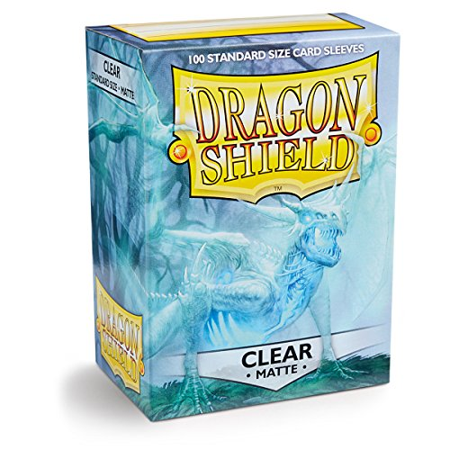 Dragon Shield Matte Clear 100 Deck Protective Sleeves in Box, Standard Size for Magic he Gathering (66x91mm) - 100 Dragon Shield Sleeves