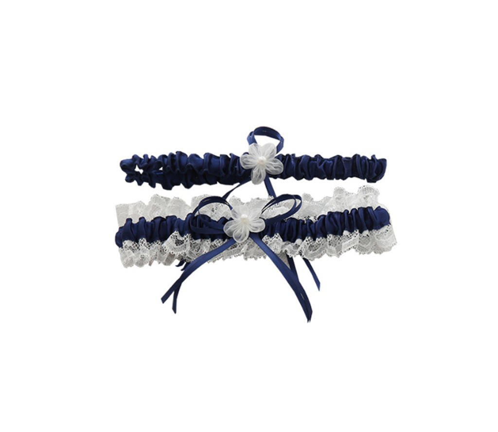 Women's Navy Blue Lace Bridal Garter with Handmade Flower Special Bridal SPGA001-Navy