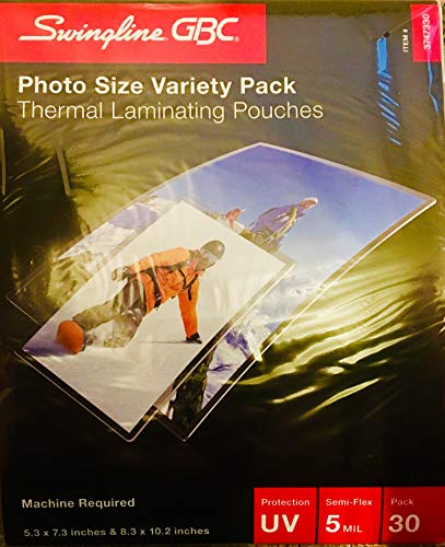 Swingline GBC EZUse Thermal Laminating Photo-Size Pouches, 5 mil, Clear, Pack of - Inch 10 Laminator Pouch