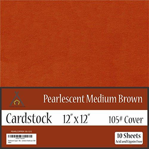 Pearl Shimmer Metallic Medium Brown Cardstock - 12 x 12 inch - 105Lb Cover - 10 Sheets