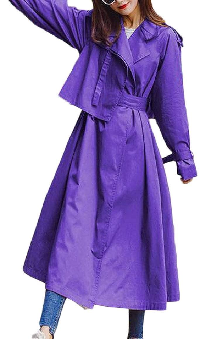 Purple pujinggeCA Women's Spring Lightweight Jackets Lapel Long Sleeve Trench Coats Tops