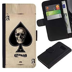 iKiki Tech / Cartera Funda Carcasa - Ace Spades Skull Black Poker Cards - Samsung Galaxy S6 SM-G920