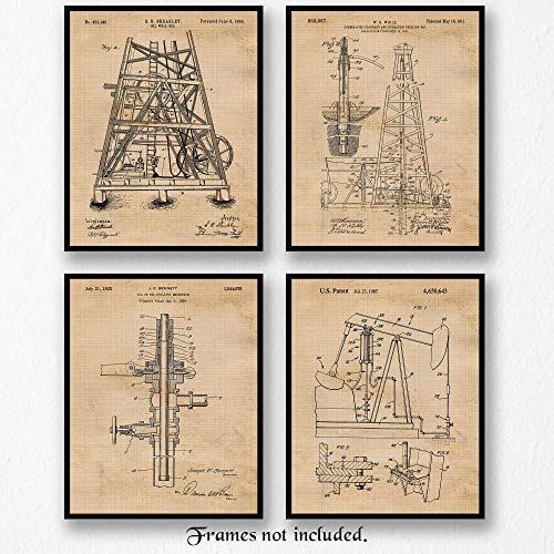 Texas Vintage Photo - Original Oil Rig Patent Poster Prints, Set of 4 (8x10) Unframed Photos, Great Wall Art Decor Gifts Under 20 for Home, Office, Garage, Man Cave, Student, Teacher, Texas, Texans, Cowboys, Petro Fan
