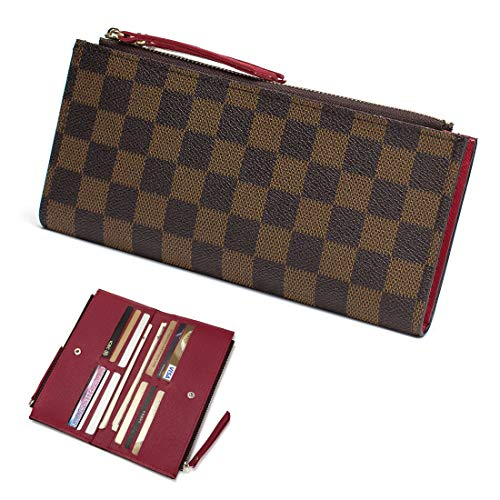 Monogram Wallets Organizerplaid Pocket Flower For Card Holder 61269 Leather Purse Brown With Women Zipper Clutch Rfid Red Blocking 0wO8PXnk