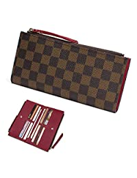 Wallets for Women Leather Zipper Pocket Monogram 61269 Clutch Flower Purse RFID Blocking with Card Holder Organizer (Plaid Brown Red)