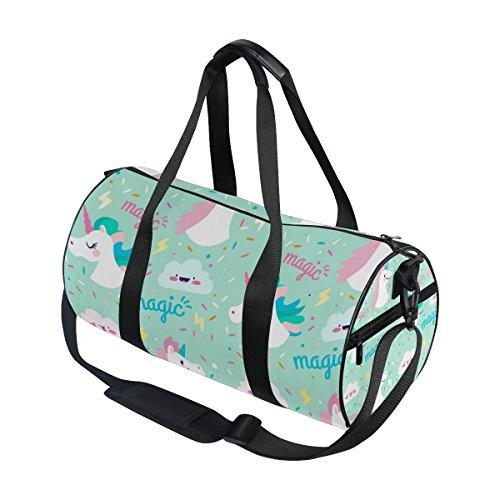 coosun weiß Einhörner Duffle Bag Handlich Sports Gym Bags Schultertasche für Männer und Frauen rEvwi