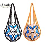 2 Pack Durable Mesh Storage Sports Ball Holders, Magnoloran Mesh Nylon Net Portable Polyester Ball Storage Carrier Basketball Football Volleyball Soccer Carrier Net Bags