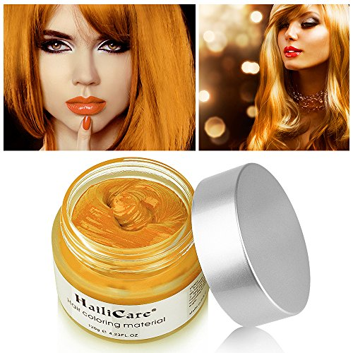 HailiCare Golden Hair Wax 4.23 oz, Professional Gold Hair Wax, Natural Matte Hairstyle Hair Dye Wax for Party, Cosplay (Upgrade Glass Jar)