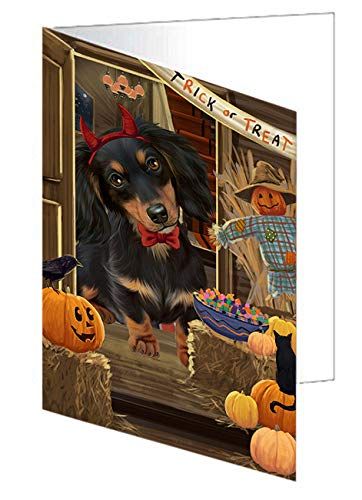 Enter at Own Risk Trick or Treat Halloween Dachshund Dog Note Card NCD63350 (10)]()