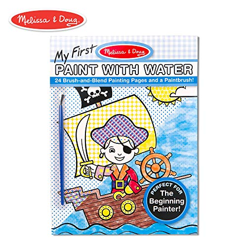 Melissa & Doug My First Paint with Water Kids' Art Pad With Paintbrush - Pirates, Space, Construction, and More -