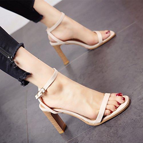 retrò europeo In dame' estate sandali scarpe stile b tacco punta alto eleganti moda YMFIE yEIqBFE