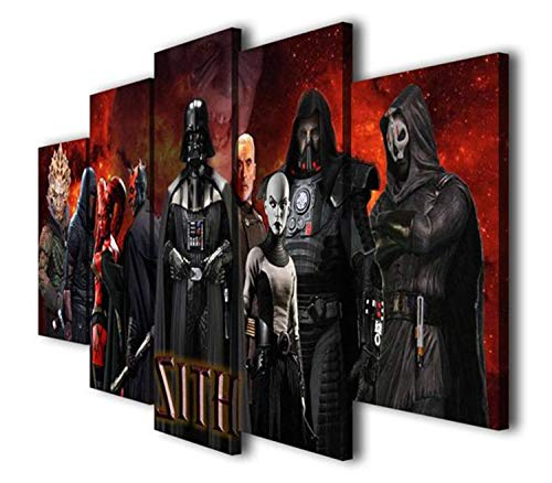 JESC 5 Panels Painting Sith Lords Movie Printed on Canvas Wall Art Picture Home Décor ()