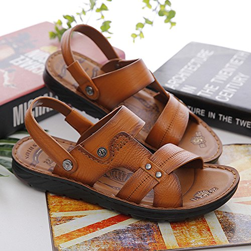 Sandali Uomini Tempo libero Scarpe da spiaggia Estate I pattini della pelle molle delle nuove scarpe da sandalo del pattino della giovinezza del Brown, UK = 9, EU = 43 1/3