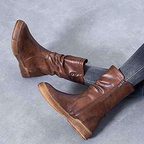 R Piattaforma Retro YR Con Piane Da Brown Stivali Lavoro Chelsea Martin Cuoio Utility Sneaker Donne Calzature Signore Alte Per Stivali Plateau Scarpe gndnwxFqp