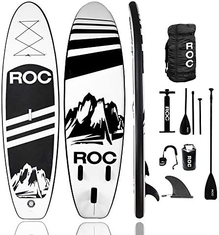 Roc Inflatable Stand Up Paddle Board W Free Premium SUP Accessories Backpack, Non-Slip Deck Bonus Waterproof Bag, Leash, Paddle and Hand Pump Youth Adult
