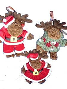 """Adorable Holiday Plush Moose 7"""" Christmas Stuffed Animal Toy, Fully Jointed,Ornament ,3 Pcs Set"""