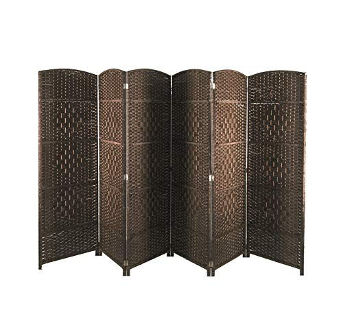 AVIGNON HOME 6 ft. Tall-Extra Wide-Diamond Weave Fiber Room Divider,Double Hinged,6 Panel Room Divider/Screen, Room Dividers and Folding Privacy Screens Freestanding Room Dividers(Dark Mocha, 6 Panel)