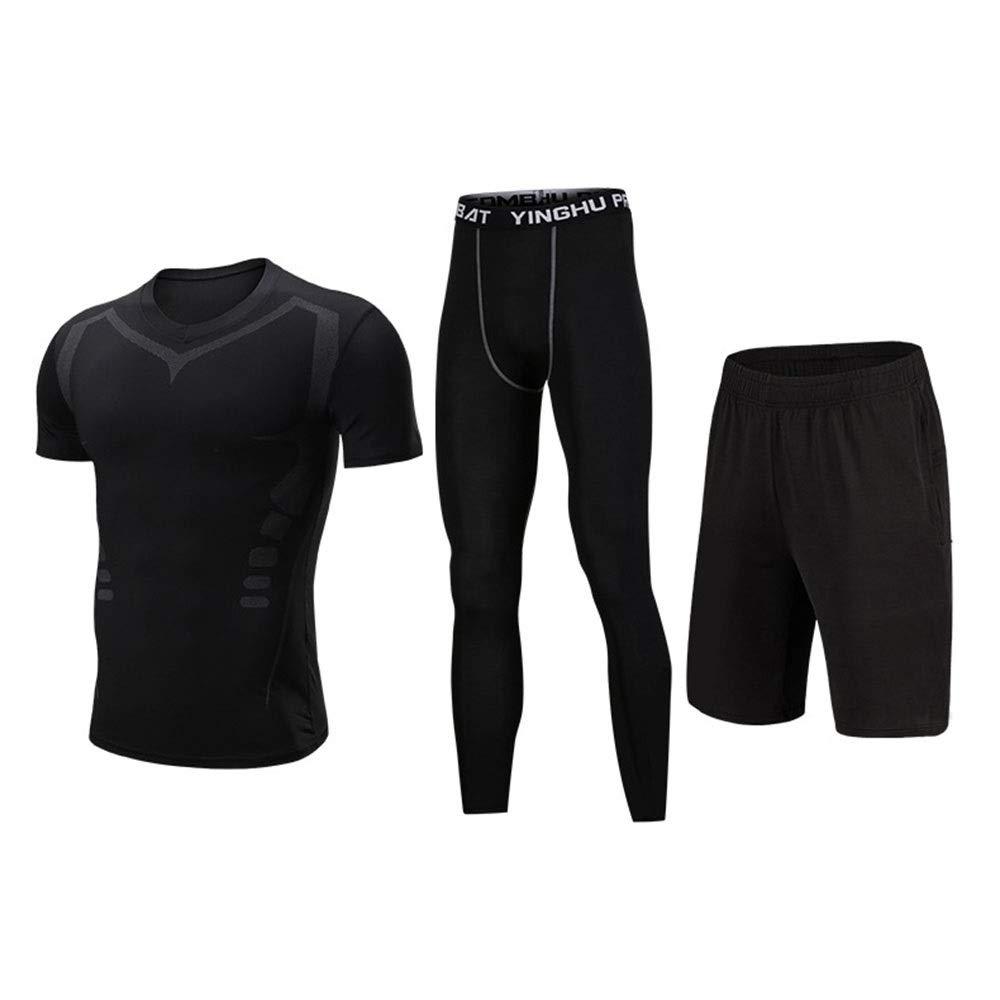 Wuxingqing Gym Wear Fitness Bekleidung Set 3 Stücke Männer Sport Workout Gym Fitness Kleidung Set Mit Kompression Enge Hosen, Kompression Kurzarm T-Shirt, Shorts (Color : Black, Size : XXXL)