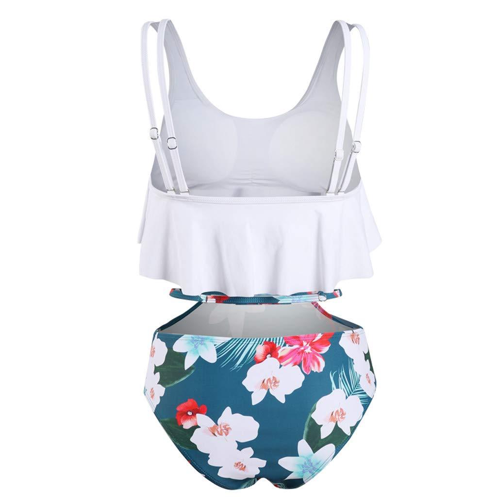 Women Two Piece Swimsuit Plus Size High Waisted Halter Neck Dot Printed Ruffled Bikini Set