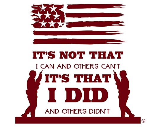 I'm a Veteran-A US Veteran-I Stood Guard For Others-A Unique Veteran Gifts-Car Window Decal With US Flag-Mom Veteran-Dad Veteran-Made In The USA Vinyl Wall Decal-BURGUNDY ()