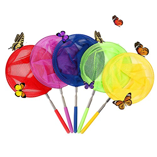 Telescopic Butterfly Net,Butterfly Nets Catcher for Kids 5 Pack for Catching Bugs Insect Small Fish Extendable 34 Inch
