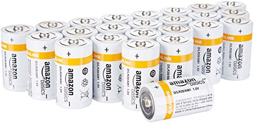 AmazonBasics D Cell 1.5 Volt Everyday Alkaline Battery - Pack of 24