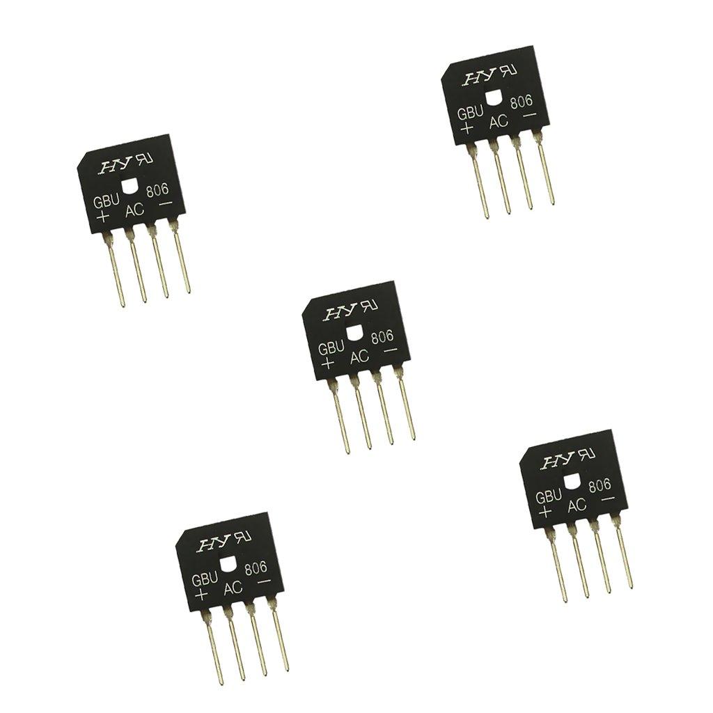 MagiDeal 5pcs GBU806 Pont Redresseur 8A 600V Monophase 4 Pins Rectificateur de Bridge STK0160002119