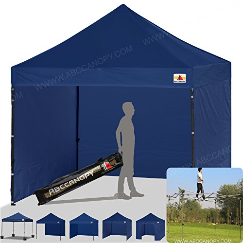 ABCCANOPY Pop-up Canopy Tent 8x8 Commercial Instant Tents Outdoor Canopies Easy to Set Up with 3 Side Walls and 1 Door Wall,Bonus Roller Bag, 4 Sandbags and Stakes(30+ Multi Colors) (Navy Canopy Tent)